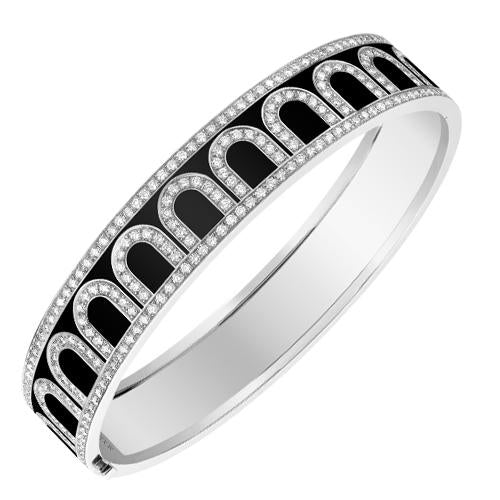L'Arc de DAVIDOR Bangle GM, 18k White Gold with Lacquered Ceramic and Palais Diamonds