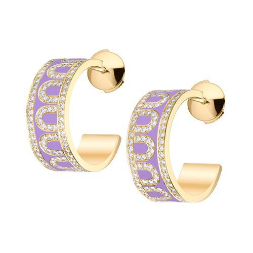 L'Arc de DAVIDOR Creole Earring PM, 18k Yellow Gold with lacquer and Palais Diamonds