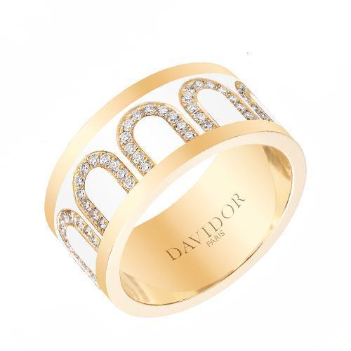 L'Arc de DAVIDOR Ring GM, 18k Yellow Gold with Lacquered Ceramic and Arcade Diamonds