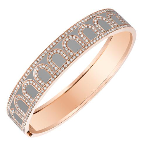 L'Arc de DAVIDOR Bangle GM, 18k Rose Gold with Lacquered Ceramic and Palais Diamonds