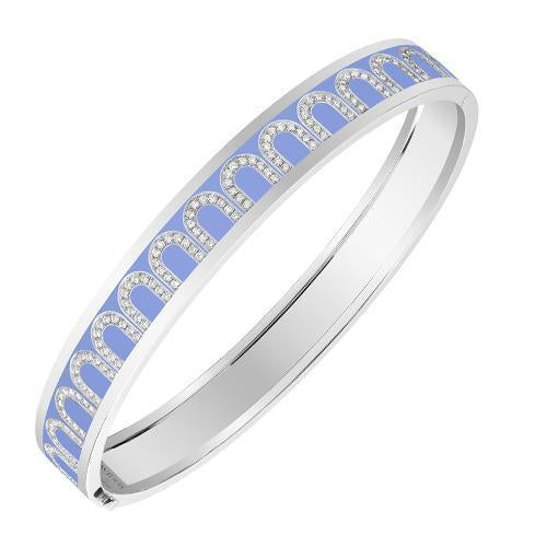 L'Arc de DAVIDOR Bangle MM, 18k White Gold with Lacquered Ceramic and Arcade Diamonds