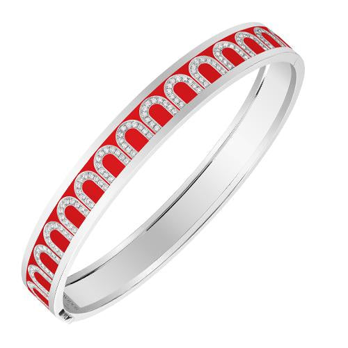 Men's L'Arc de DAVIDOR Bangle MM, 18k White Gold with Lacquered Ceramic and Arcade Diamonds