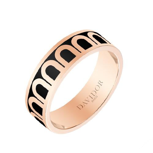 L'Arc de DAVIDOR Ring MM, 18k Rose Gold with Lacquered Ceramic