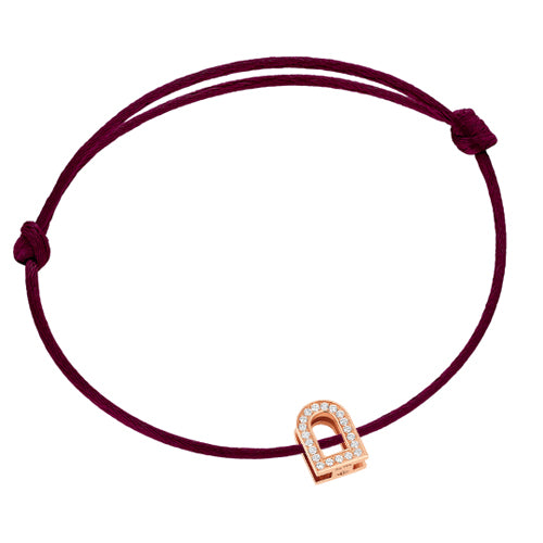 L'Arc Voyage bracelet, 18k Rose Gold and Brillant Diamonds on silk cord