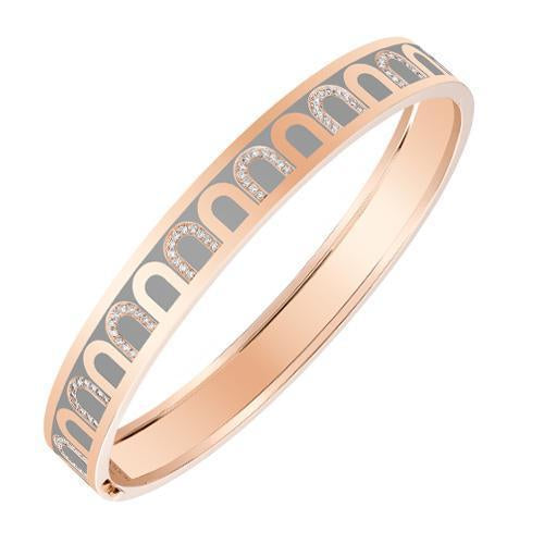 L'Arc de DAVIDOR Bangle MM, 18k Rose Gold with Lacquered Ceramic and Colonnato Diamonds