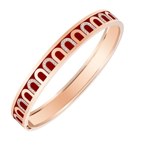 Men's L'Arc de DAVIDOR Bangle MM, 18k Rose Gold with Lacquered Ceramic and Arcade Diamonds