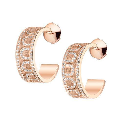 L'Arc de DAVIDOR Creole Earring PM, 18k Rose Gold with Satin Finish and Palais Diamonds