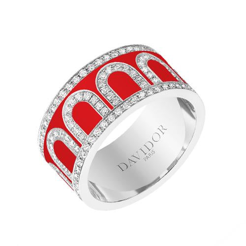 L'Arc de DAVIDOR Ring GM, 18k White Gold with Lacquered Ceramic and Palais Diamonds