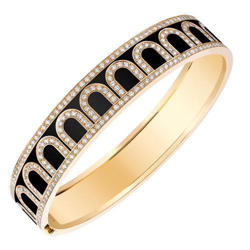 L'Arc de DAVIDOR Bangle GM, 18k Yellow Gold with Lacquered Ceramic and Palais Diamonds