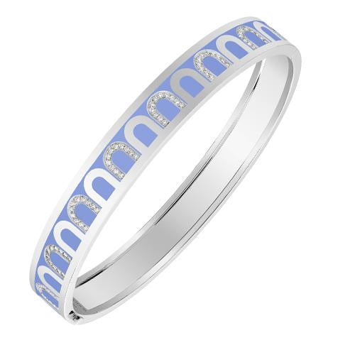 L'Arc de DAVIDOR Bangle MM, 18k White Gold with Lacquered Ceramic and Colonnato Diamonds