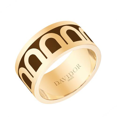 Men's L'Arc de DAVIDOR Ring GM, 18k Yellow Gold with Lacquered Ceramic
