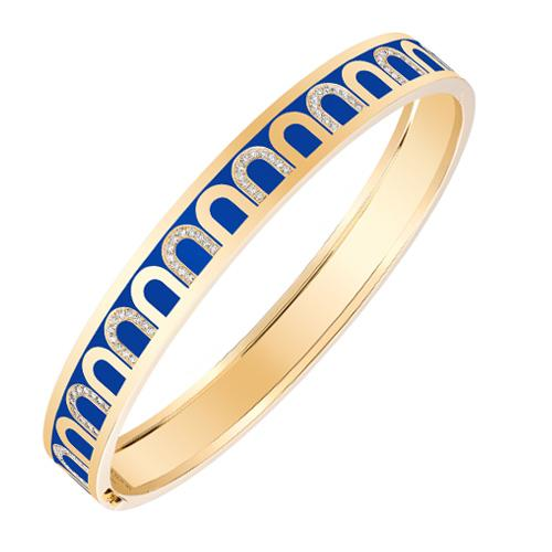 L'Arc de DAVIDOR Bangle MM, 18k Yellow Gold with Lacquered Ceramic and Colonnato Diamonds