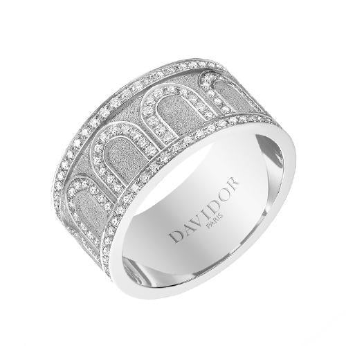 Men's L'Arc de DAVIDOR Ring GM, 18k White Gold with Satin Finish and Palais Diamonds