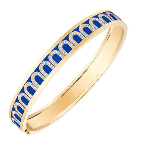 L'Arc de DAVIDOR Bangle MM, 18k Yellow Gold with Lacquered Ceramic and Arcade Diamonds