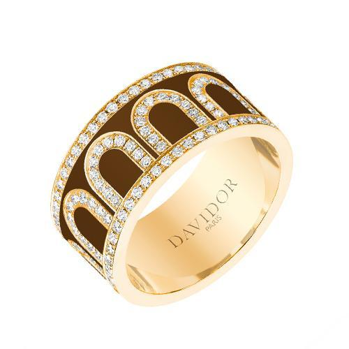 Men's L'Arc de DAVIDOR Ring GM, 18k Yellow Gold with lacquer and Palais Diamonds