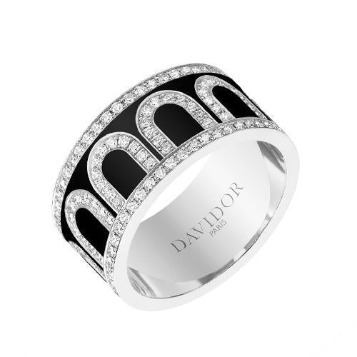 Men's L'Arc de DAVIDOR Ring GM, 18k White Gold with lacquer and Palais Diamonds