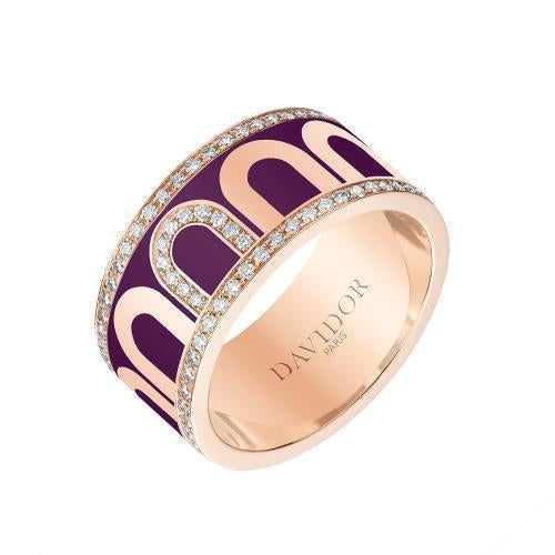 L'Arc de DAVIDOR Ring GM, 18k Rose Gold with Lacquered Ceramic and Porta Diamonds