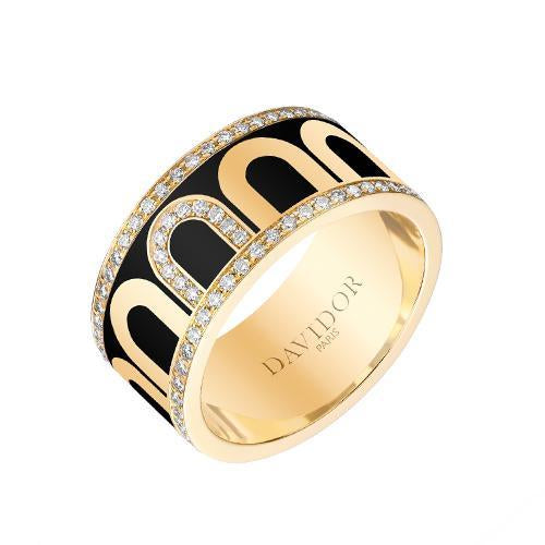 Men's L'Arc de DAVIDOR Ring GM, 18k Yellow Gold with Lacquered Ceramic and Porta Diamonds