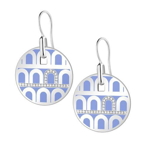 L'Arc de DAVIDOR Pendant Earring GM, 18k White Gold with lacquer and Porta Diamonds