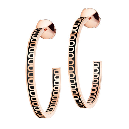 L'Arc de DAVIDOR Creole Earring MM, 18k Rose Gold with Lacquered Ceramic