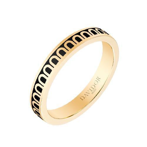 Men's L'Arc de DAVIDOR Ring PM, 18k Yellow Gold with Lacquered Ceramic