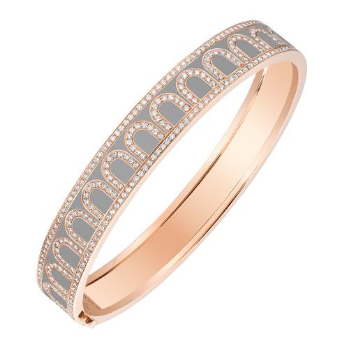 L'Arc de DAVIDOR Bangle MM, 18k Rose Gold with Lacquered Ceramic and Palais Diamonds