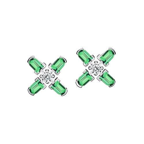 Arch Florale PM Stud Earrings, 18k White Gold with DAVIDOR Arch Cut Green Tourmaline and Brilliant Diamonds