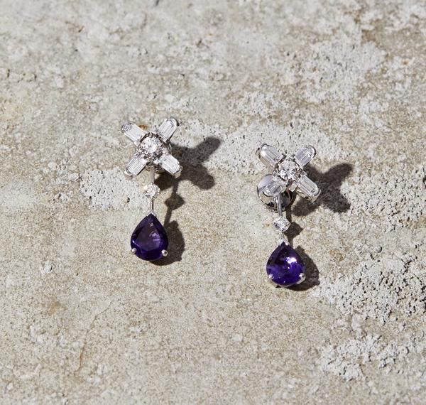 Arch Florale MM Stud Earrings with Detachable Amethyst Drops, 18k White Gold with DAVIDOR Arch Cut Diamonds, Brilliant Diamonds and Amethyst Pear Shaped Drops
