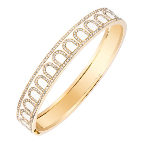 L'Arc de DAVIDOR Bangle MM, 18k Yellow Gold with Lacquered Ceramic and Palais Diamonds