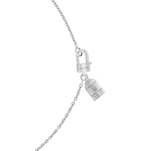 Diamant Sculptural Dangling Necklace, 18k White Gold with DAVIDOR Arch Cut Diamond and Brilliant Diamonds