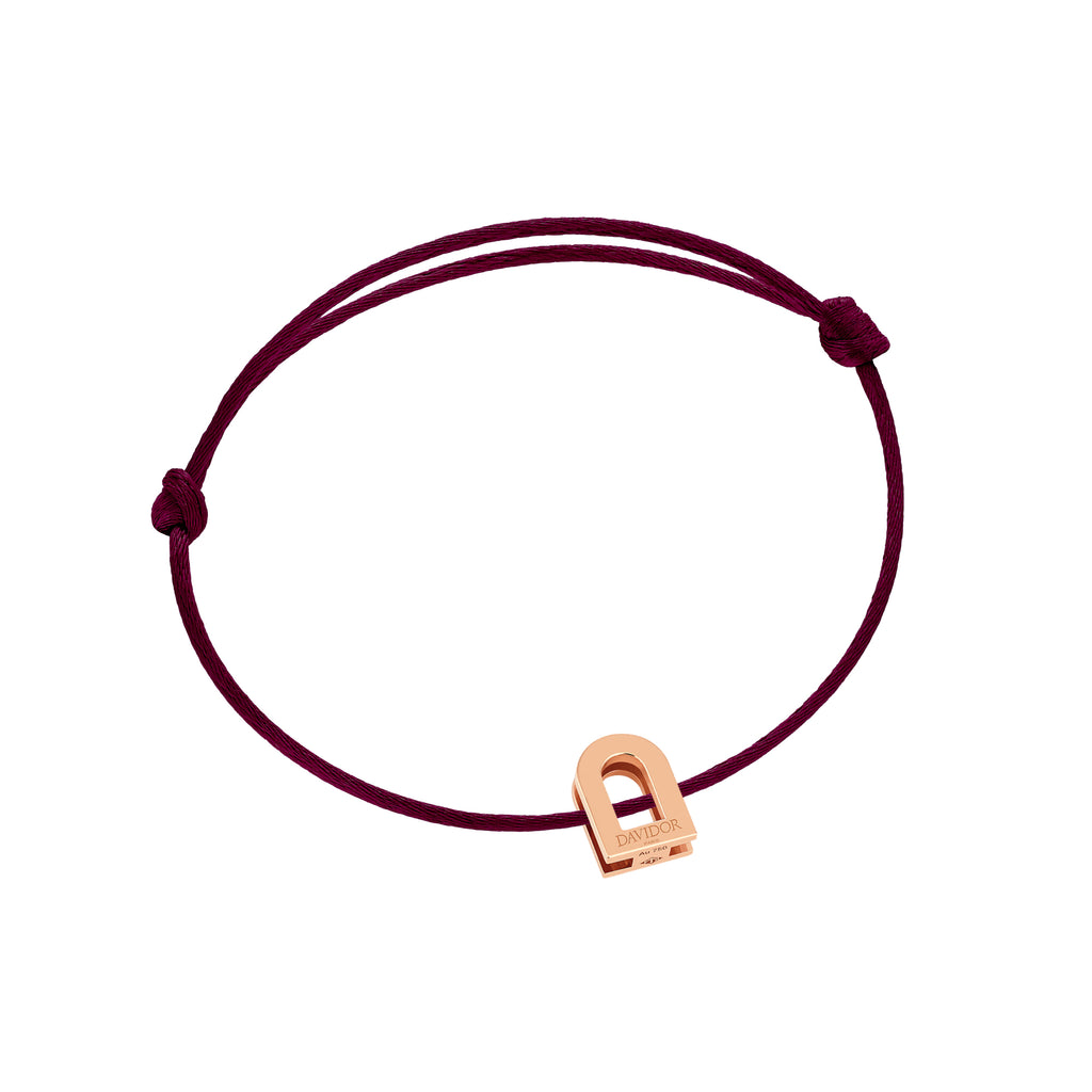 L'Arc Voyage bracelet, 18k Rose Gold on silk cord