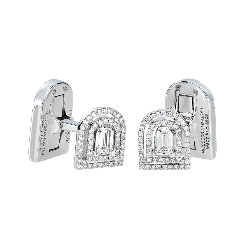 Diamant Sculptural Cufflinks, 18k White Gold with DAVIDOR Arch Cut Diamond and Brilliant Diamond
