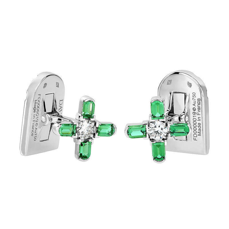 ARCH FLORALE MM Cufflinks, 18K WHITE GOLD WITH DAVIDOR ARCH CUT GREEN TOURMALINES AND BRILLIANT DIAMONDS