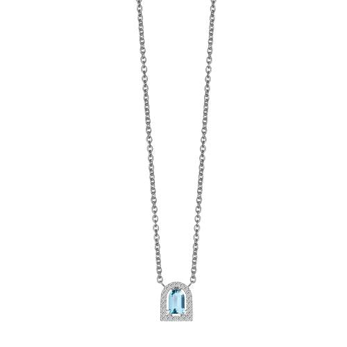 Couleur Sculptural Pendant Necklace, 18k White Gold with DAVIDOR Arch Cut Aquamarine and Brilliant Diamonds