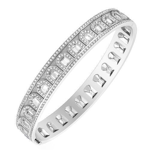 L'Arc Deco Bangle in Platinum with DAVIDOR Arch Cut Diamonds and Brilliant Diamonds