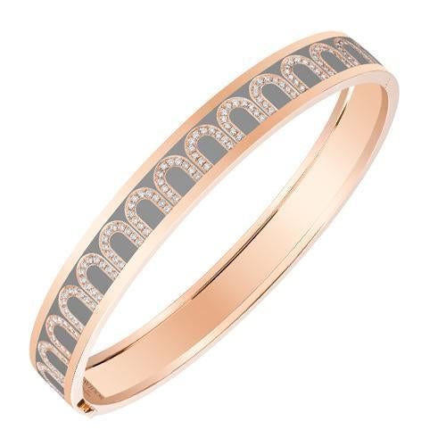 L'Arc de DAVIDOR Bangle MM, 18k Rose Gold with Lacquered Ceramic and Arcade Diamonds