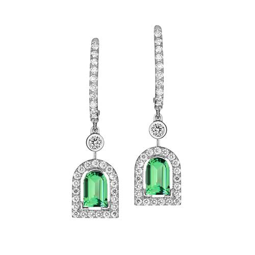 Couleur Sculptural Earring GM, 18k White Gold with DAVIDOR Arch Cut Green Tourmaline and Brilliant Diamonds