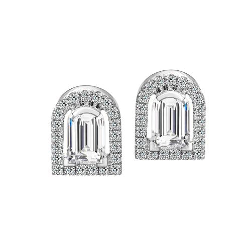 Diamant Sculptural Stud Earring, 18k White Gold with DAVIDOR Arch Cut Diamond and Brilliant Diamonds