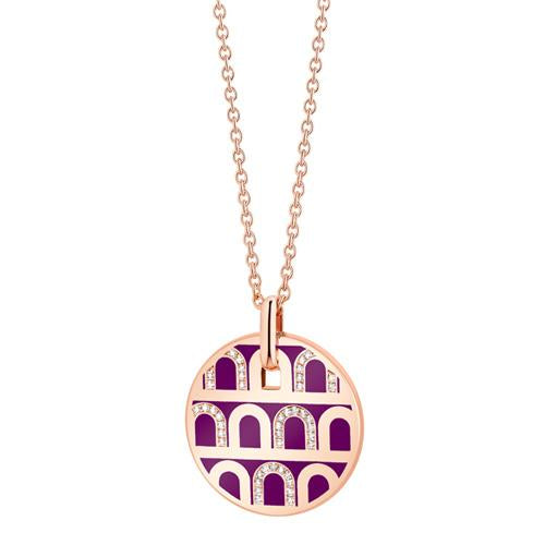 L'Arc de DAVIDOR Pendant GM, 18k Rose Gold with Lacquered Ceramic and Colonnato Diamonds