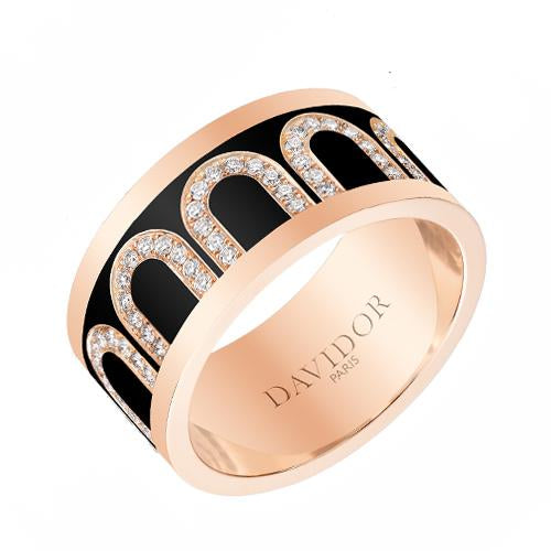 Men's L'Arc de DAVIDOR Ring GM, 18k Rose Gold with Lacquered Ceramic and Arcade Diamonds