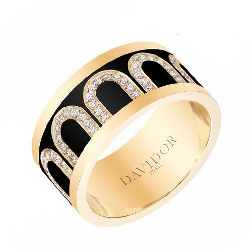 Men's L'Arc de DAVIDOR Ring GM, 18k Yellow Gold with Lacquered Ceramic and Arcade Diamonds