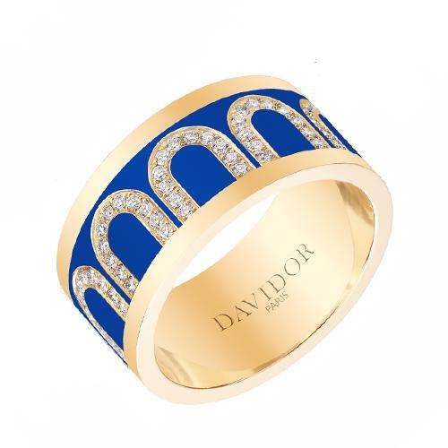 Men's L'Arc de DAVIDOR Ring GM, 18k Yellow Gold with lacquer and Arcade Diamonds