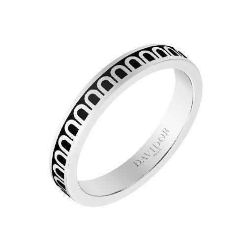 Men's L'Arc de DAVIDOR Ring PM, 18k White Gold with Lacquered Ceramic