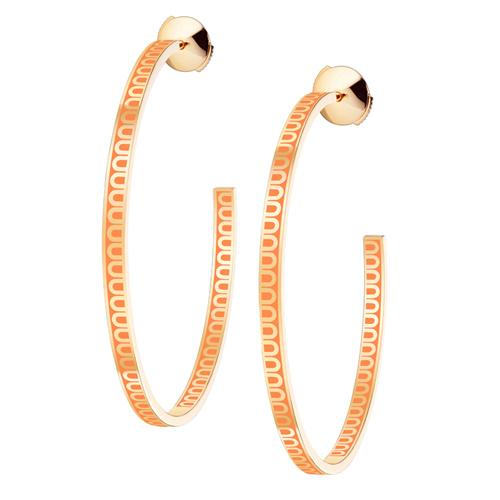 L'Arc de DAVIDOR Creole Earring GM, 18k Yellow Gold with Lacquered Ceramic