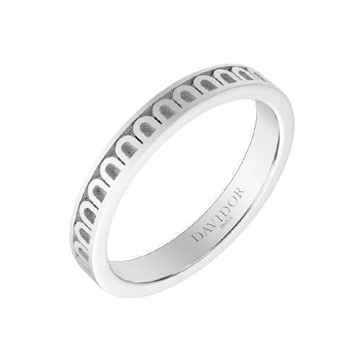 Men's L'Arc de DAVIDOR Ring PM, 18k White Gold with Satin Finish