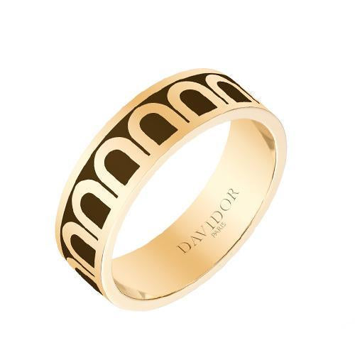 L'Arc de DAVIDOR Ring MM, 18k Yellow Gold with Lacquered Ceramic