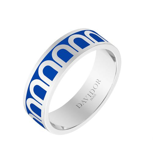 Men's L'Arc de DAVIDOR Ring MM, 18k White Gold with Lacquered Ceramic