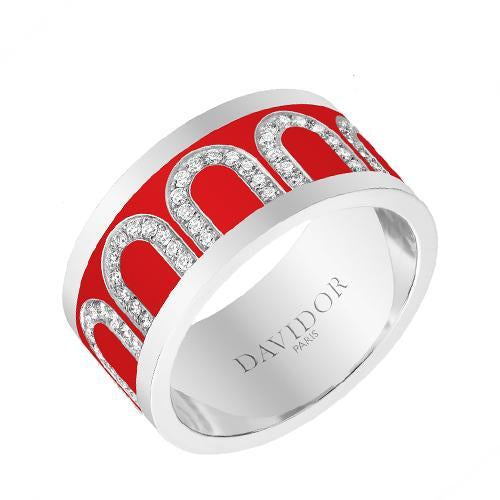 Men's L'Arc de DAVIDOR Ring GM, 18k White Gold with lacquer and Arcade Diamonds