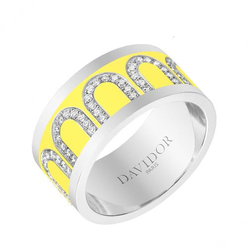 Men's L'Arc de DAVIDOR Ring GM, 18k White Gold with Lacquered Ceramic and Arcade Diamonds