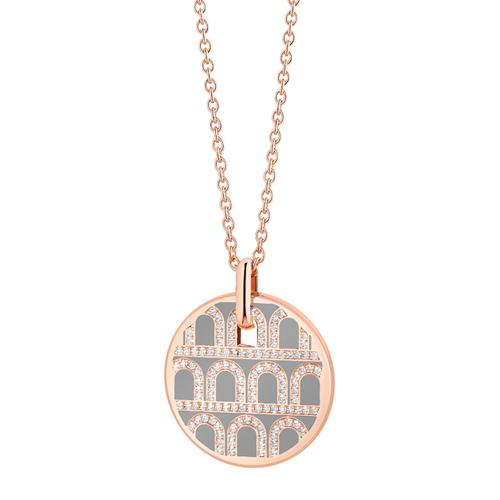 L'Arc de DAVIDOR Pendant GM, 18k Rose Gold with Lacquered Ceramic and Palais Diamonds